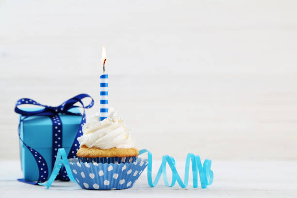 birthday cupcake - birthday gift stock photos and pictures