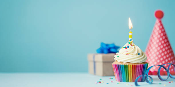 birthday cupcake - celebration stock pictures, royalty-free photos & images