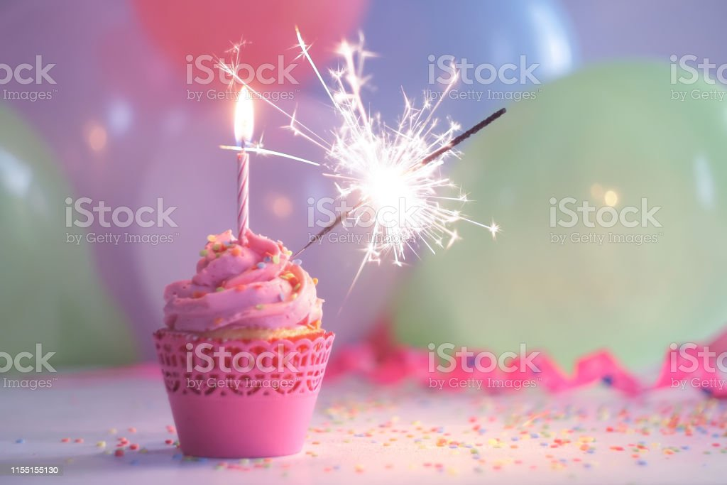 Cool Birthday Cupcake With Candle And Sparkler Stock Photo Download Funny Birthday Cards Online Alyptdamsfinfo