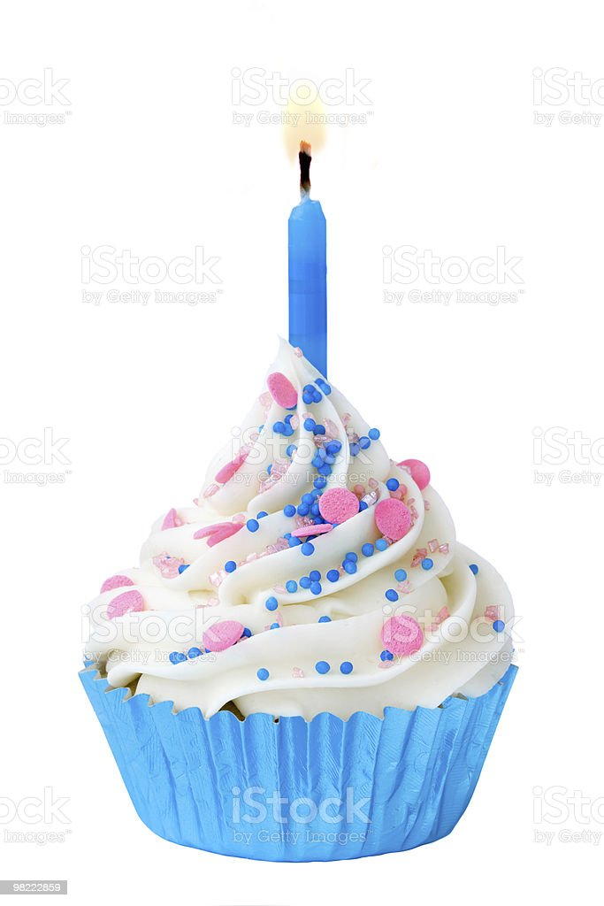 Birthday cupcake with candle lit royalty-free stock photo