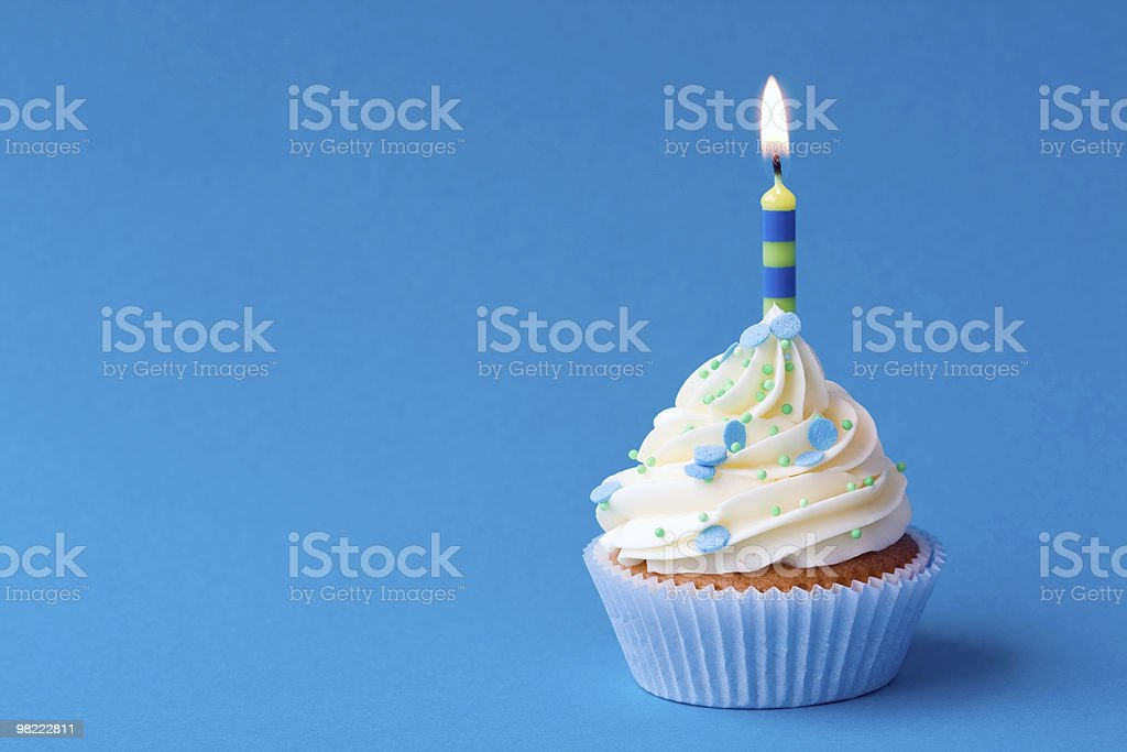 Birthday cupcake with lit candle royalty-free stock photo