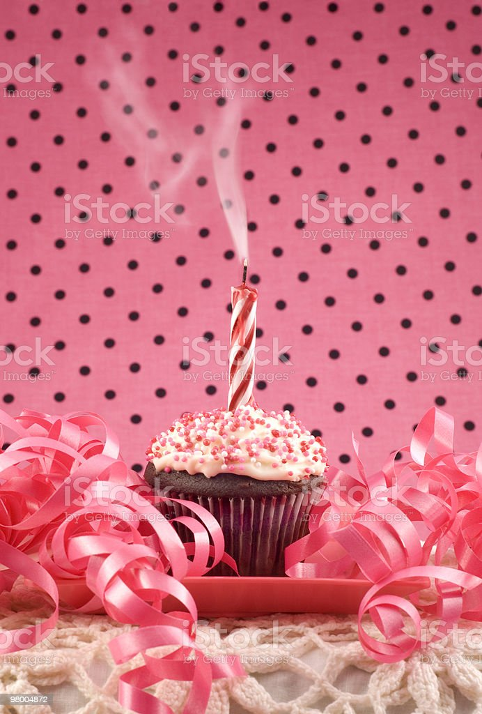 Birthday Cupcake with One Smoking Candle royalty-free stock photo