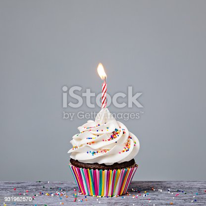 istock Birthday Cupcake with red candle 931962570