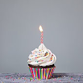 Birthday Cupcake with a red candle and colorful sprinkles
