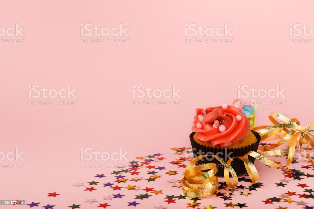 Birthday cupcake with sprinkles royalty-free stock photo