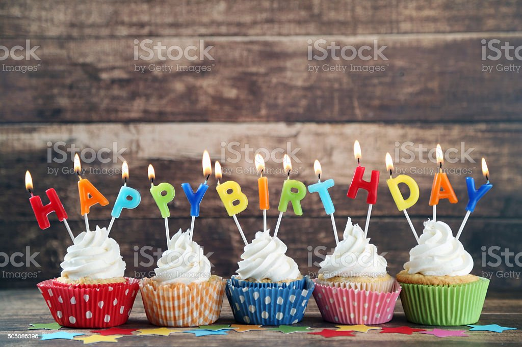birthday cupcakes stock photo