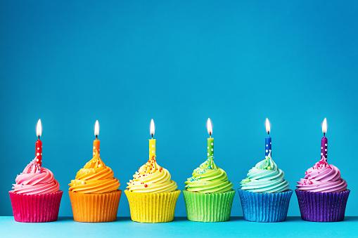 Birthday cupcakes in rainbow colors