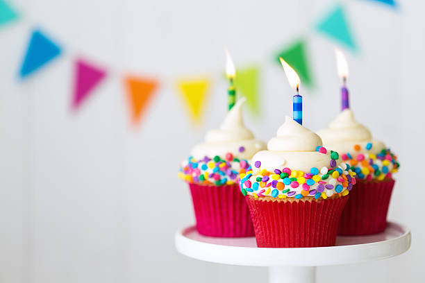 birthday cupcakes - number 3 stock photos and pictures