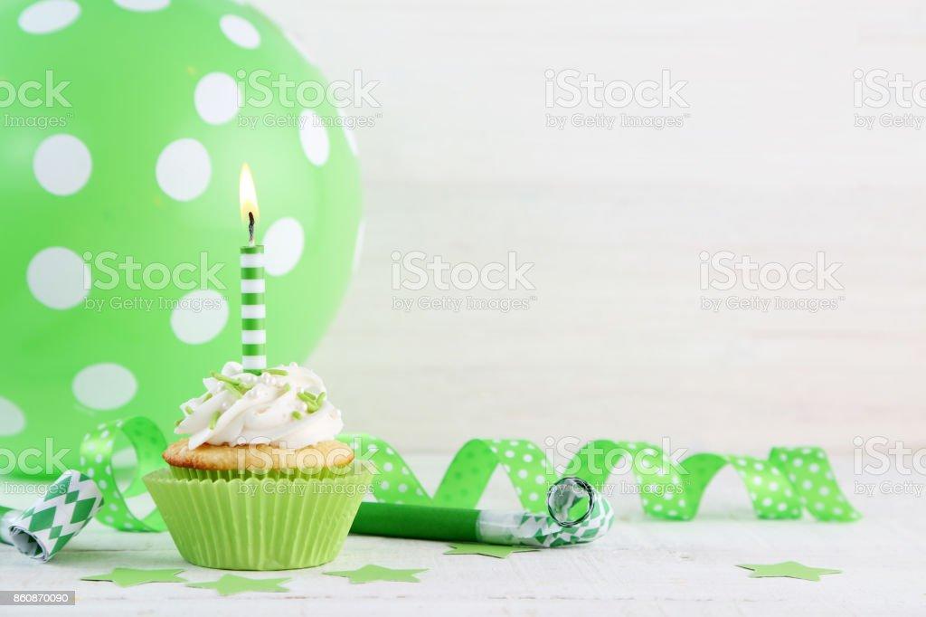 birthday cupcakes stock photo