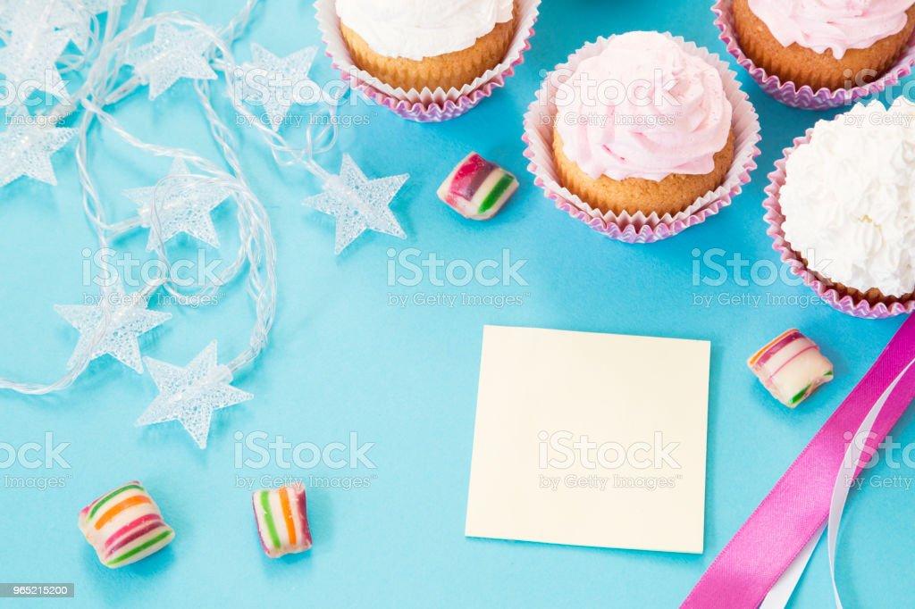 Birthday cupcakes zbiór zdjęć royalty-free