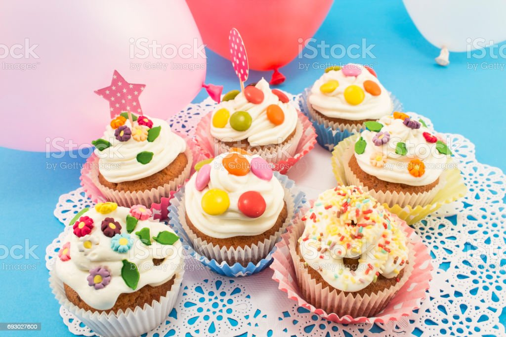 Pleasant Birthday Cupcakes With Balloons Stock Photo Download Image Now Funny Birthday Cards Online Chimdamsfinfo