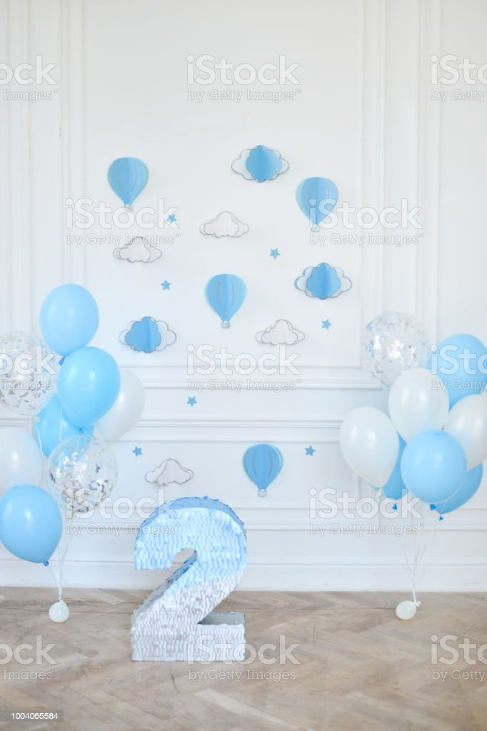 Birthday Decorations Balloons Blue And White Royalty Free Stock Photo