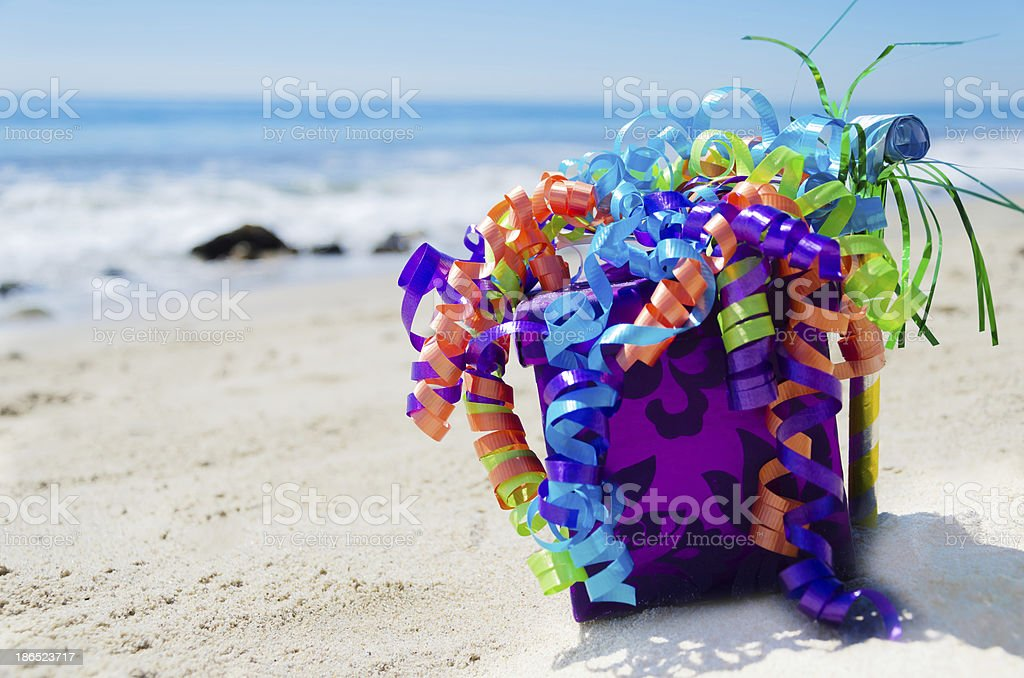 Birthday decorations on the beach royalty-free stock photo