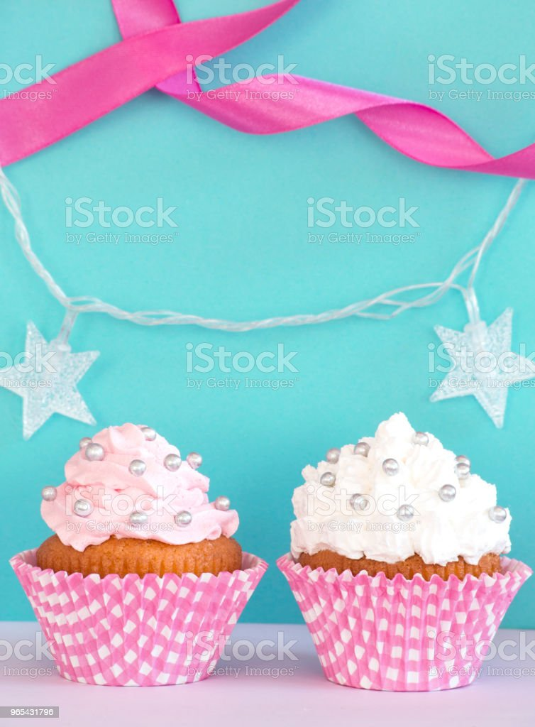 Birthday decorative cupcakes royalty-free stock photo