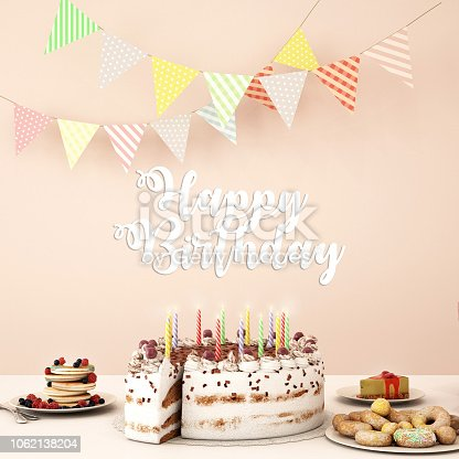 istock Birthday dinner on white table with birthday cake and other dessert,work space of happy birthday card  ,3d illustration,3d rendering 1062138204