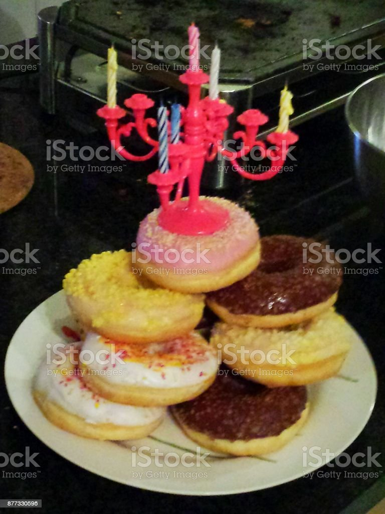 Birthday Donut Cake With Birthday Candles Stock Photo More