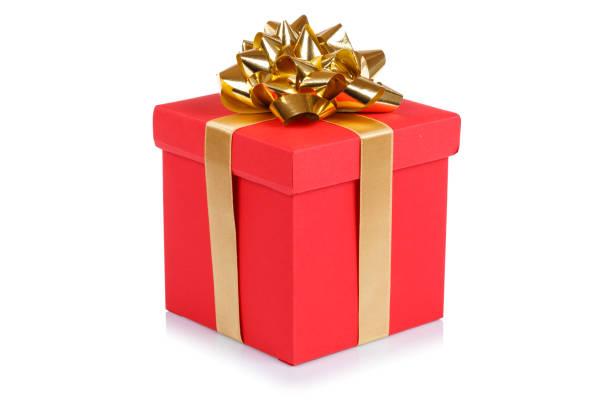 prezent urodzinowy prezent świąteczny czerwony box izolowany na białym - gift zdjęcia i obrazy z banku zdjęć