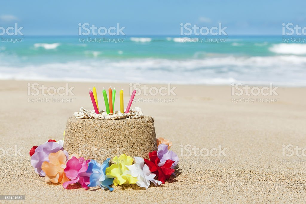 Birthday Gift of Vacationing in Tropical Paradise Beach Hz royalty-free stock photo