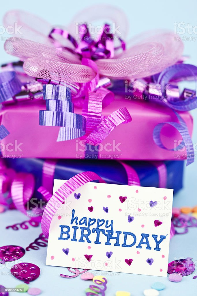 Birthday Gifts with Card royalty-free stock photo