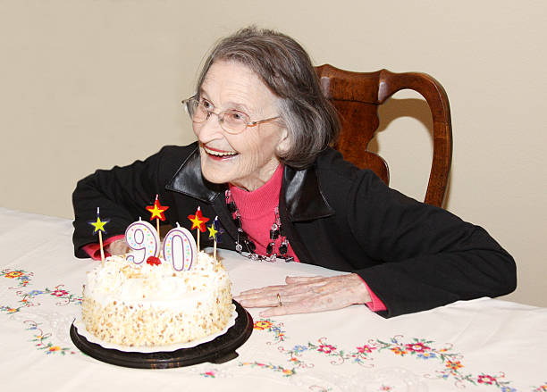 Birthday Girl - Ninety Years Old stock photo