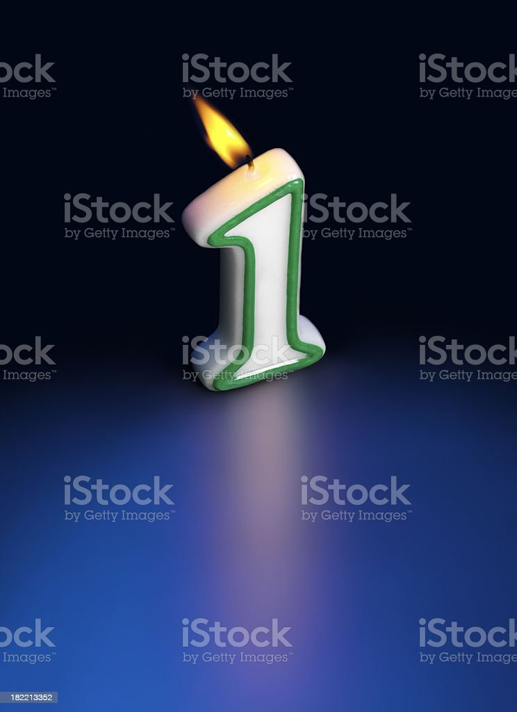 Birthday, Number 1 Candle on blue stock photo