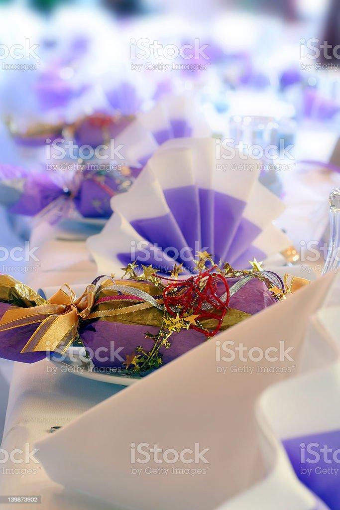 Birthday or wedding setting and cracker royalty-free stock photo