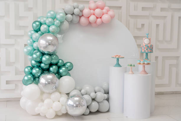 Birthday Part zone with pink silver  turquoise baloons and birthday cake Birthday Part zone with pink silver  turquoise baloons and birthday cake first birthday stock pictures, royalty-free photos & images