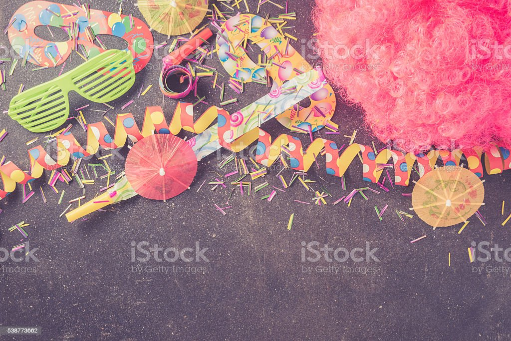 Birthday party accessories stock photo