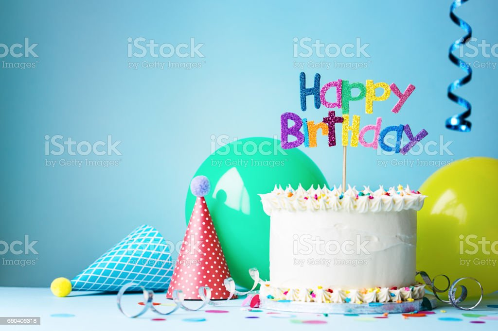 Birthday party and cake stock photo