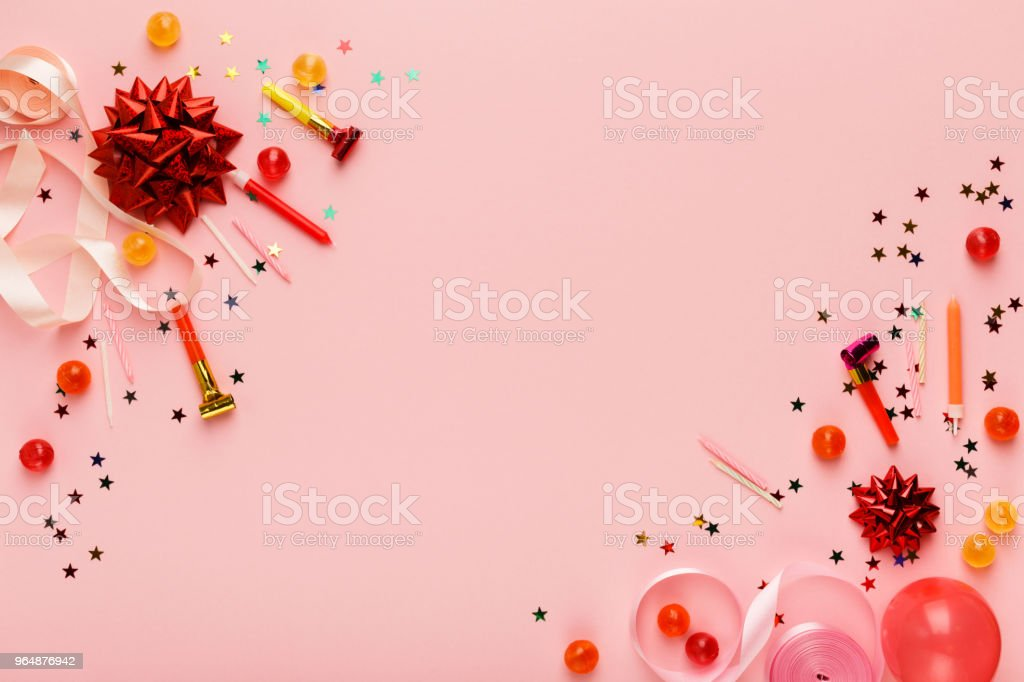 Birthday party background with gift and lollipops royalty-free stock photo