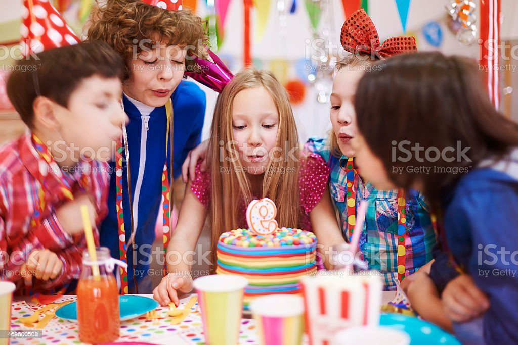 Birthday party can't be held without the cake with candle stock photo