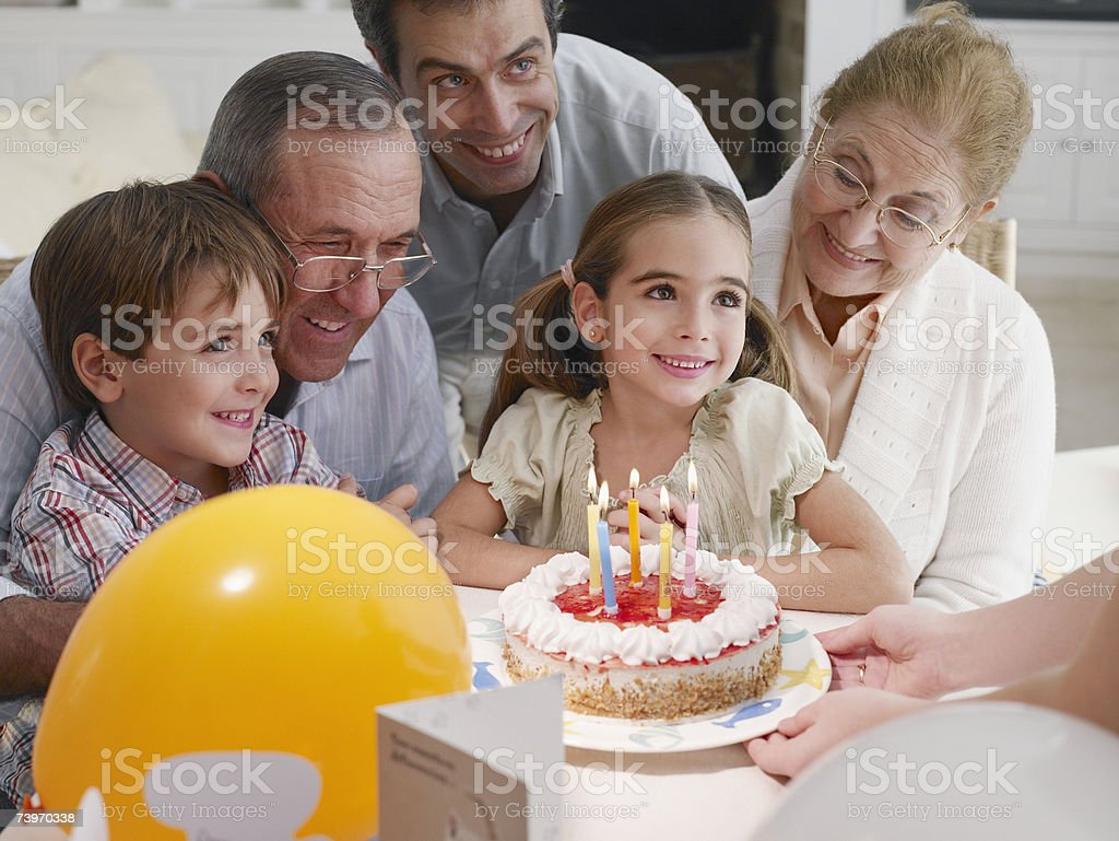 Birthday party celebration for young girl royalty-free stock photo