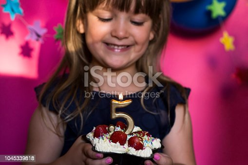 istock Birthday party celebration. Princess and her strawberry cake. Carefree childhood, happiness. 1045339818