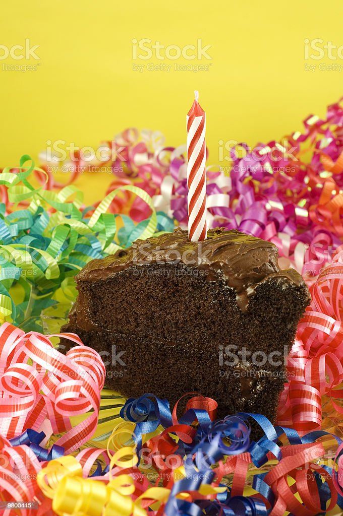 Birthday Party Chocolate Cake with Candle royalty free stockfoto