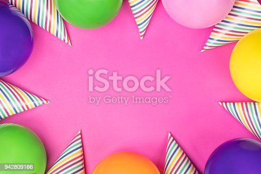 950793576 istock photo Birthday party composition on pink background. Top view with copy space. 942809166