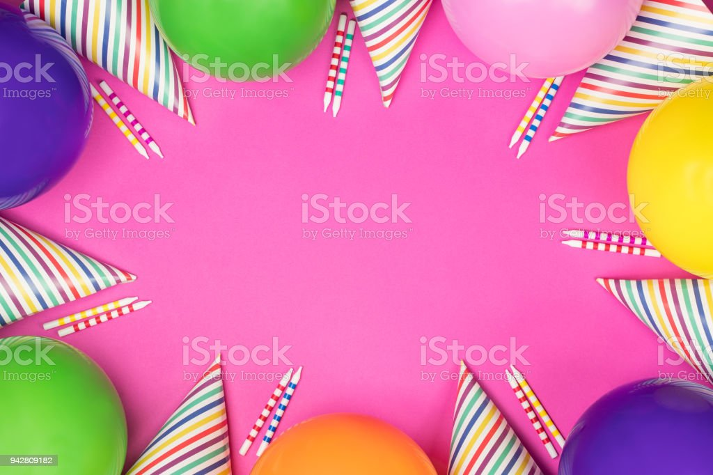 Birthday Party Composition On Pink Background Top View With Copy