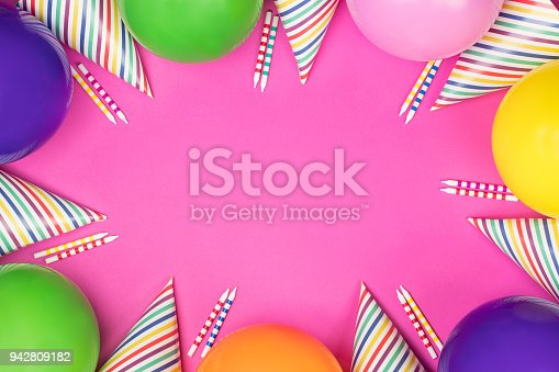950793576 istock photo Birthday party composition on pink background. Top view with copy space. 942809182