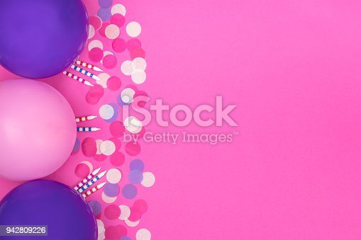 950793576 istock photo Birthday party composition on pink background. Top view with copy space. 942809226
