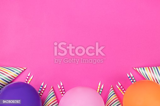 950793576 istock photo Birthday party composition on pink background. Top view with copy space. 942809292