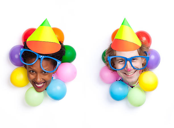 Birthday / party couple clown entertainment. stock photo