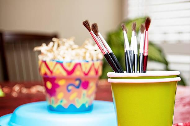 Birthday Party Crafts, Ceramics Painting stock photo