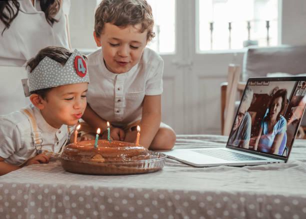 Birthday party during Coronavirus lockdown stock photo