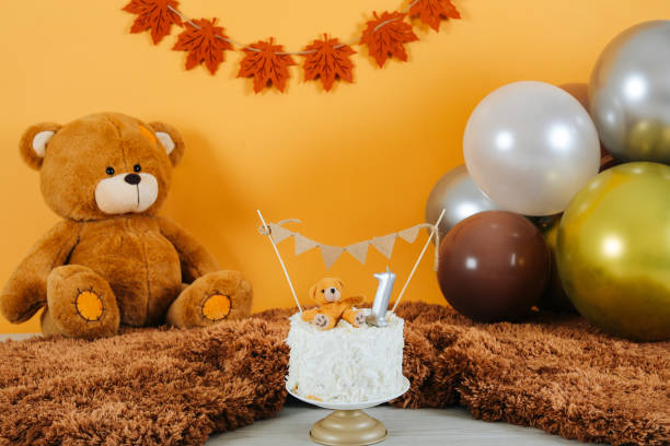 Birthday party for cute child Birthday party for cute child teddy bear stock pictures, royalty-free photos & images