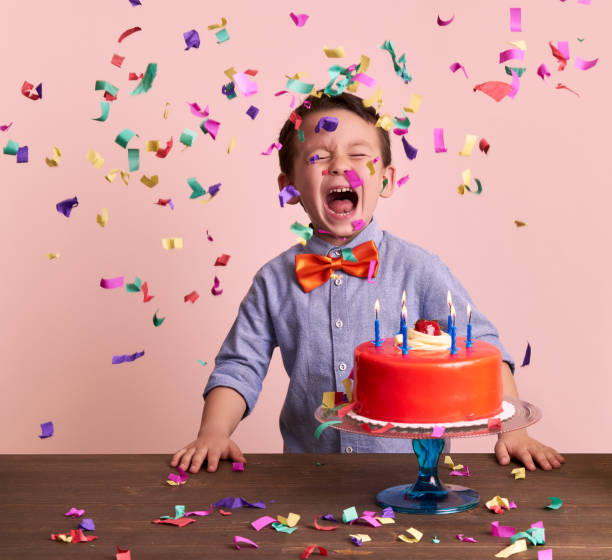 Birthday party for cute child. stock photo