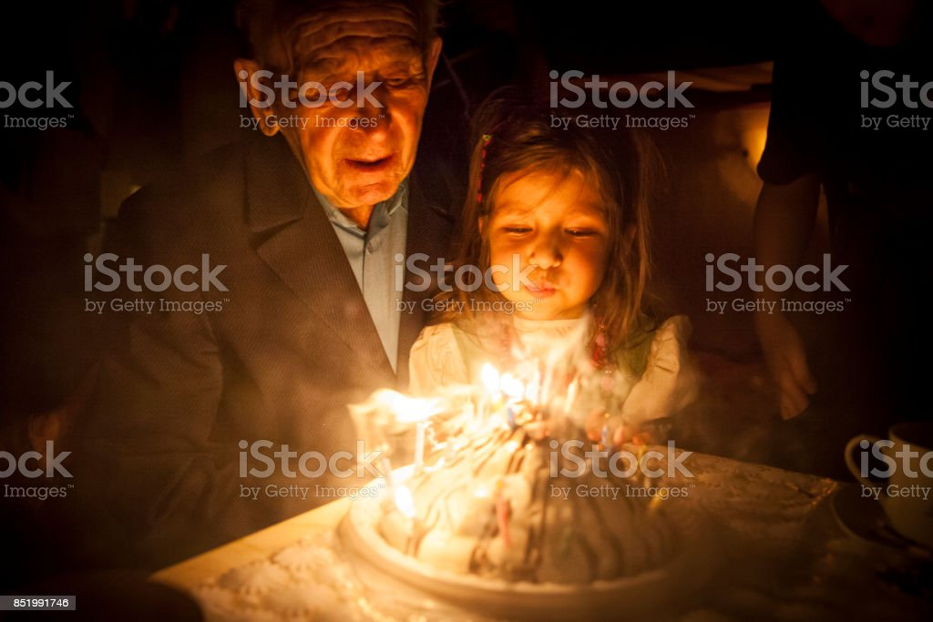 Birthday party for Great grandfather stock photo