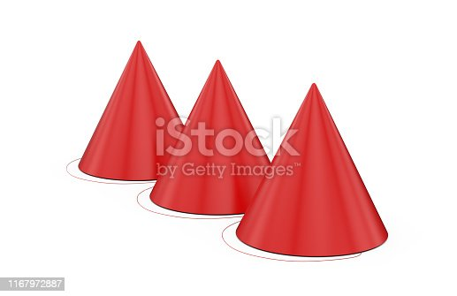 1135969446 istock photo Birthday party hat for mock up template on isolated white background, ready for design presentation, 3d illustration 1167972887