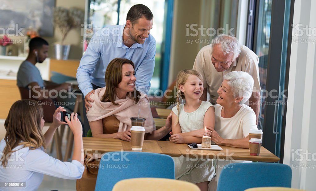 Birthday Party in Coffee Shop stock photo