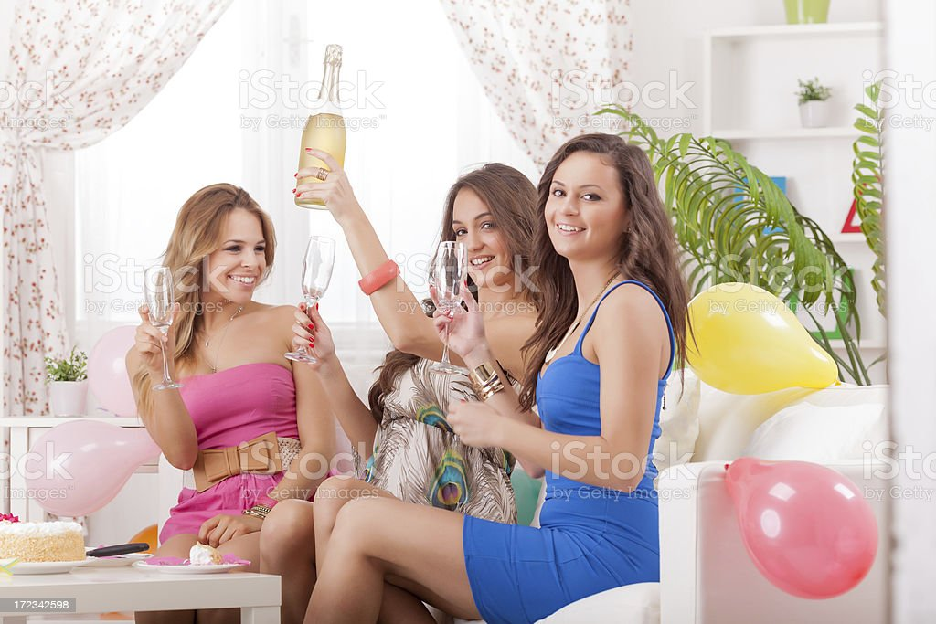 Birthday party in living room royalty-free stock photo