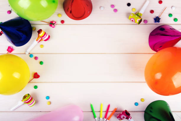 Birthday Party Items On White Wooden Background Top View Stock Photo