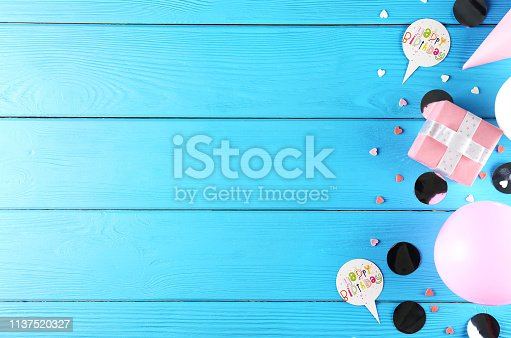 1135969446 istock photo Birthday party kit with copy space. 1137520327